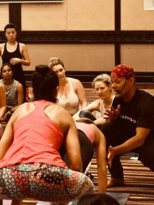 amanda mendez at baron baptiste yoga training class